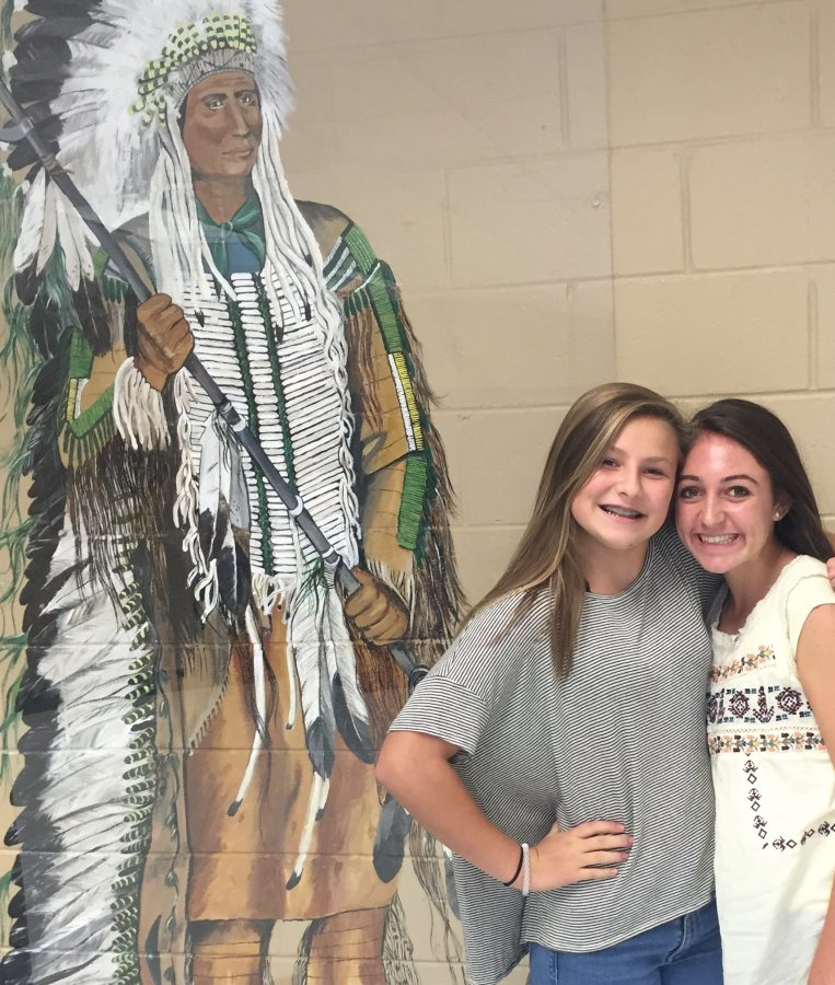 Freshmen+Maylen+Meszar+and+Juliana+Pickard+have+photo+taken+together+on+first+day+of+school.