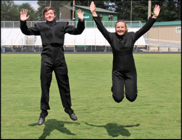 Drum majors seniors Doug Morris and Riley Carraher show their excitement for the 2016 season.