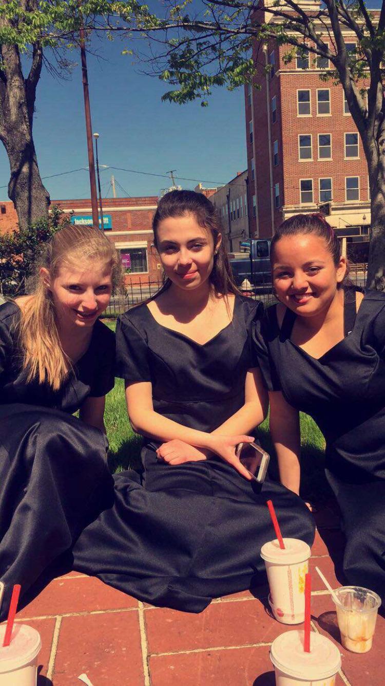 Freshmen Emma McKay, Raquel Baston, and Amy Negrete enjoy their time spent at LGPE.