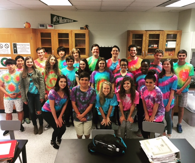 Ms.+Shelley+Dowse%27s+third+period+class+proudly+shows+off+their+tie+dyed+shirts+for+a+class+picture.