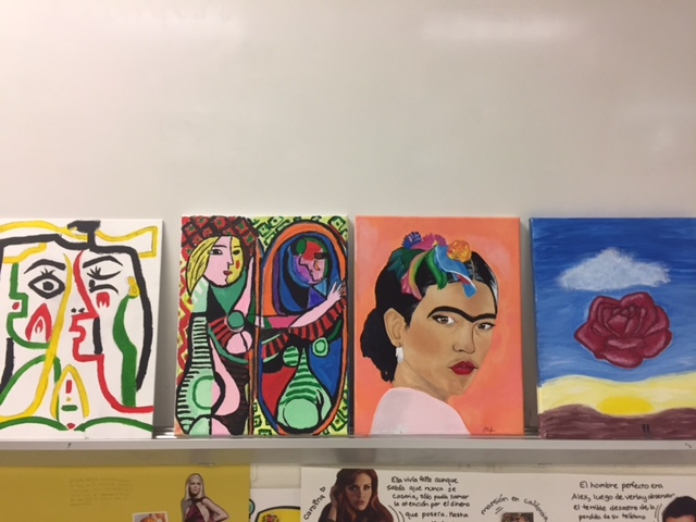 Spanish students display their art for extra credit.
