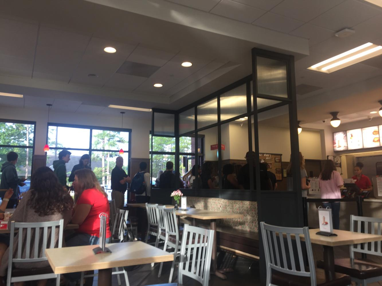 Line for free Chick-fil-A reaches out the door.