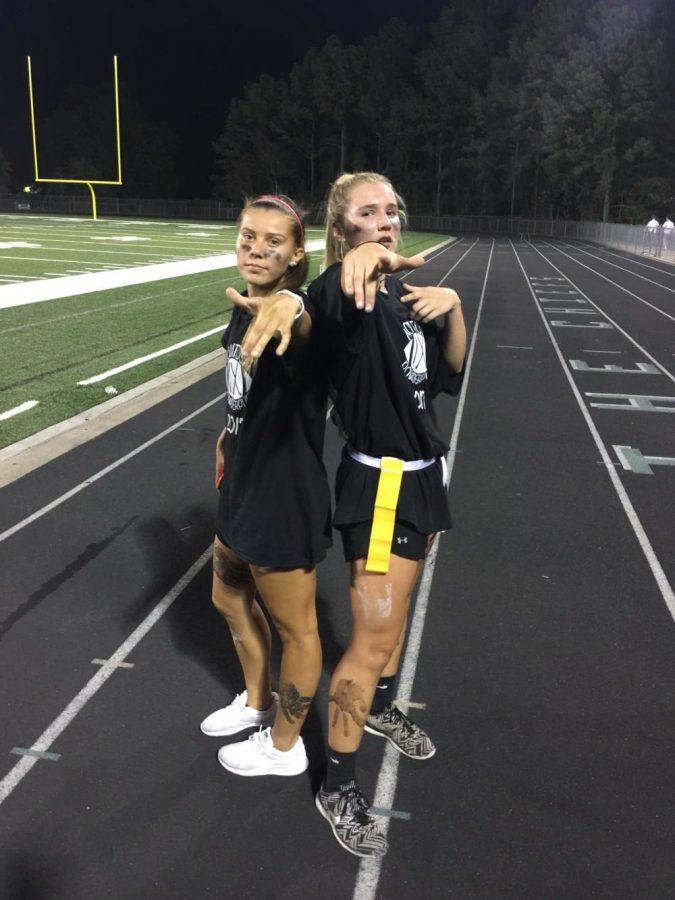 Seniors Kimmy Edgeworth and Maddie Emmet celebrate win against junior class.