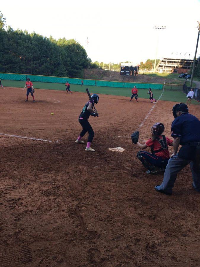 Sophomore+Hayley+Weronick+prepares+to+bat+against+the+Sandy+Creek+Patriots.