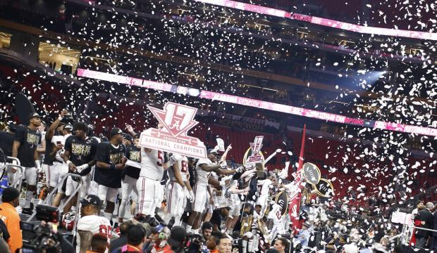 Alabama+celebrates+its+National+Championship+win+against+Georgia.