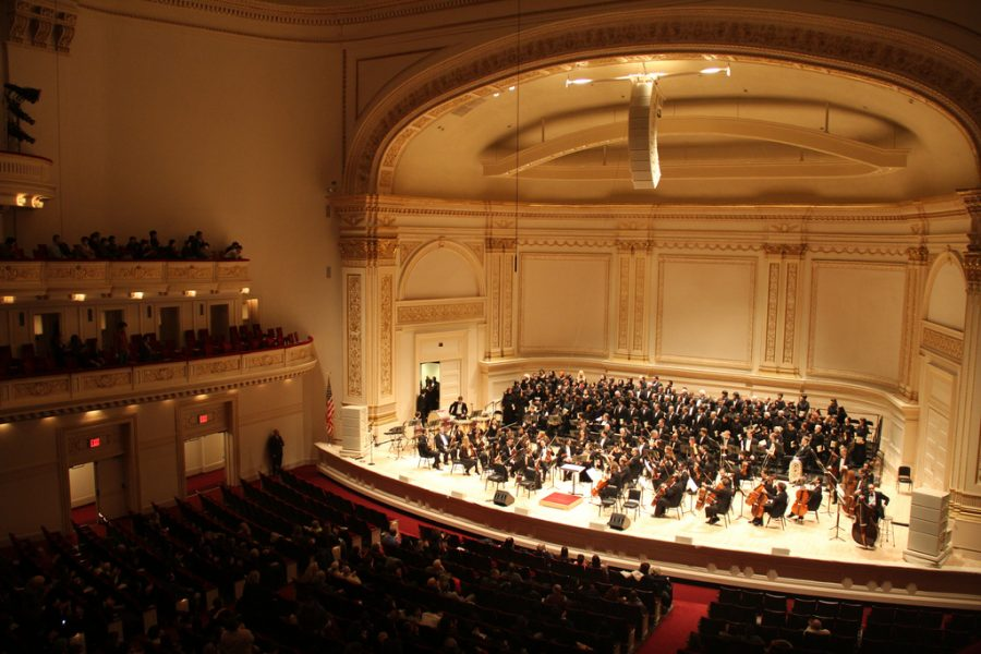 A+symphony+orchestra+performs+at+Carnegie+Hall+for+the+USA-Japan+Goodwill+Concert+in+2013.