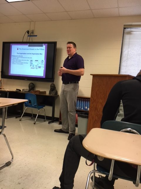 Mr. High teaching during first period, U.S History.