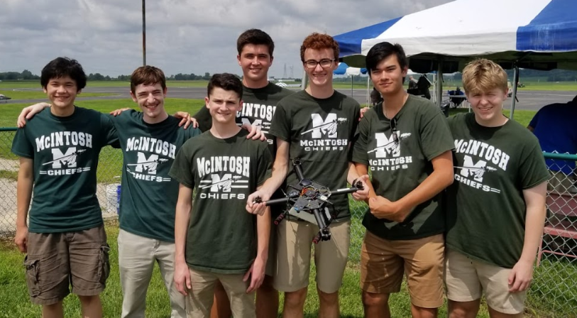 McIntosh's drone team beams with success (from left-to-right: Sam Triplett, Luke Wonderley, Logan Connerat, Adrien Richez, Matthew Harmon, Robert Palla, and Noah Statton).