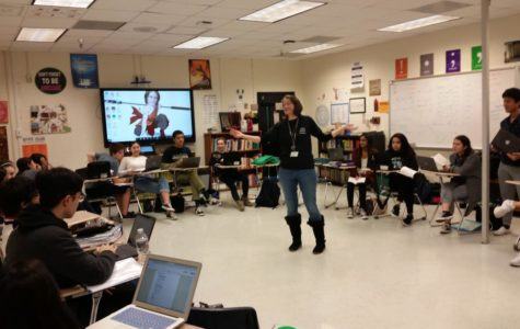 Lakly, in her classroom during first period on Dec.14, 2018, leading a group discussion. Her senior AP Literature students are practicing for the AP exam by creating mock questions to quiz each other with. Photo Credit: Luke Wonderley