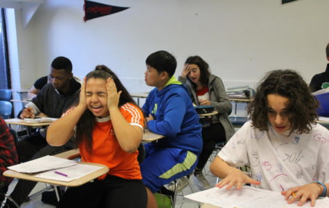 Freshman and sophomore accelerated geometry students stress over exams.