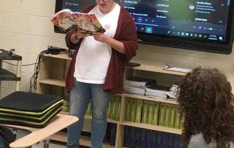 Senior Catherine Quarles read her poem,