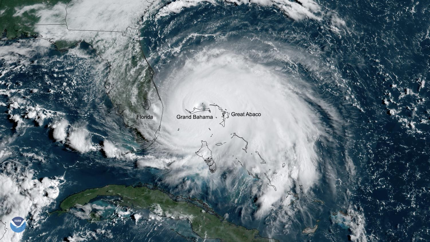 Satellite image of Hurricane Dorian as it sits over the Bahamas
