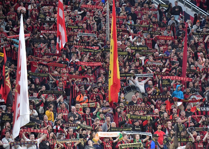 Upwards of 65,000 soccer fans rally behind Atlanta United in their first playoff game of the season.