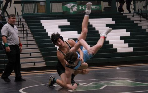 Gavin Proffitt competing during a match against at Starr's Mill wrestler   Photo taken by Grant White