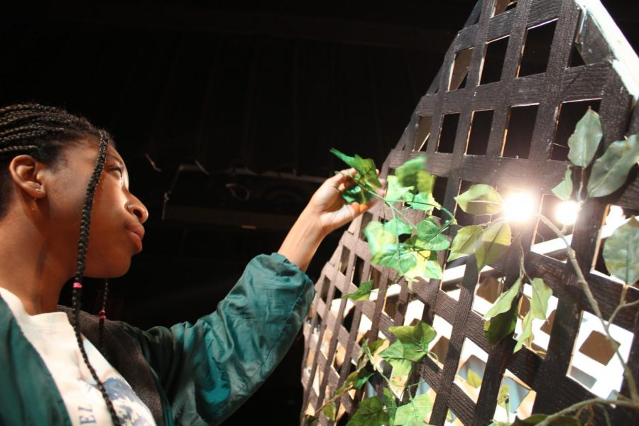Courtney Jean-Louis helps build a ivy backdrop for the school musical Mary Poppins.