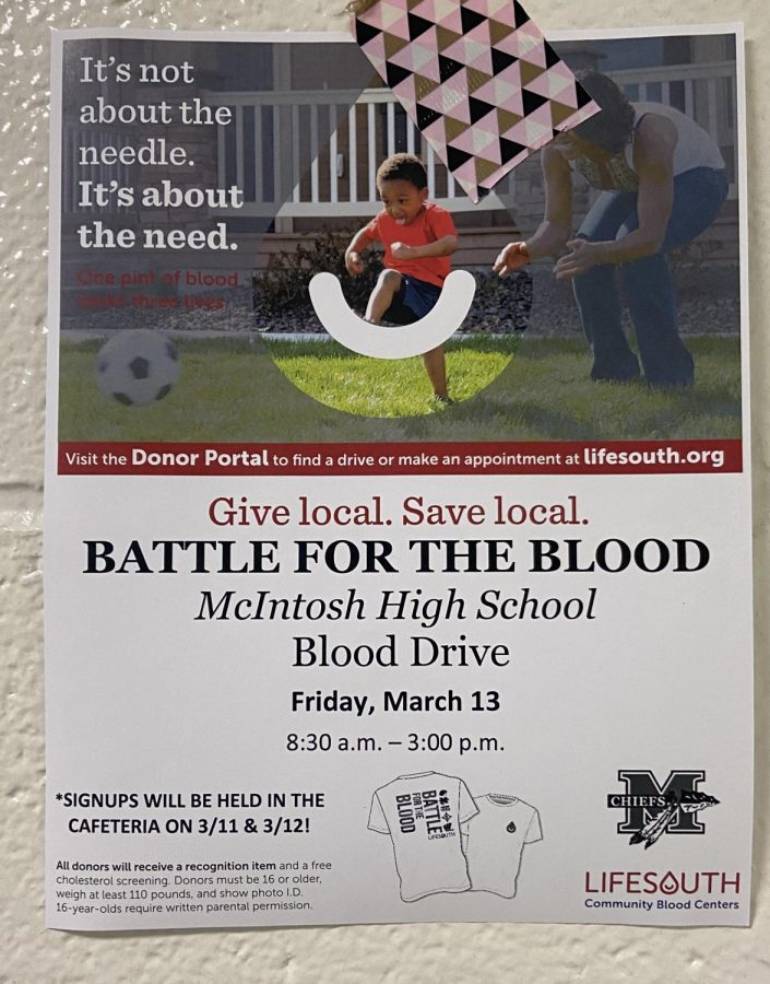 The blood drive will be held in the Multi-purpose room throughout the entire school day.