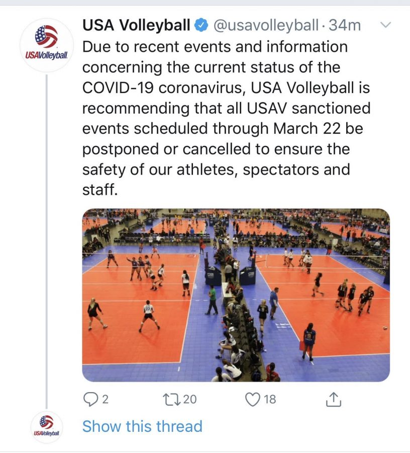 Tweet by USA Volleyball stating that all tournaments with a large amount of people participating should be cancelled due to the outbreak of COVID-19. The tweet states that tournaments will try to be pushed back to Mar. 22nd, however the COVID-19 will most likely still be at large. If USAV can not find a later date to push the tournaments to, they will be cancelled permanently.