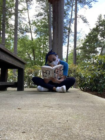 """One of the only ways to past time for me nowadays is to read. I enjoy reading a lot, but now I have become tired by sitting inside. It feels good to be outside surrounded by nature. However, I still like to take precaution by wearing my mask"" said Jordyn Mobley (10)."