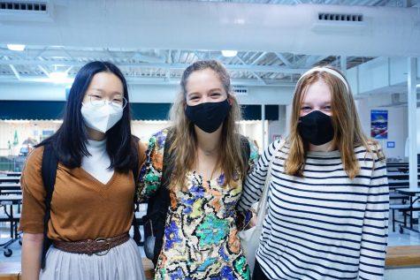(Left to right) Erica Yun (10), Madeleine Sheffield (10) and Caroline Roshelli (10)