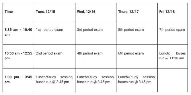 An image to the exam schedule that was releases by the Chiefs Connection
