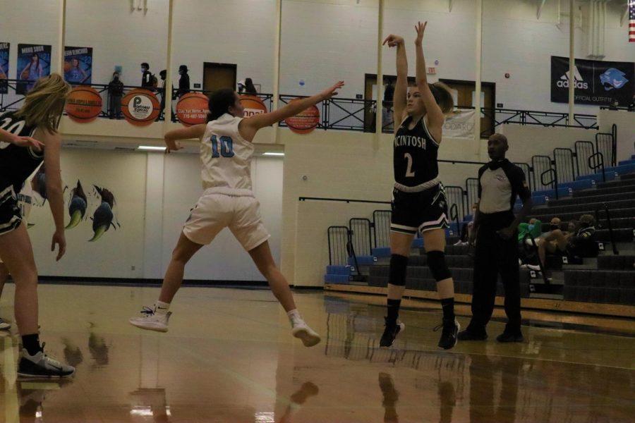 Junior Becca Lobl shooting a 3-pointer.