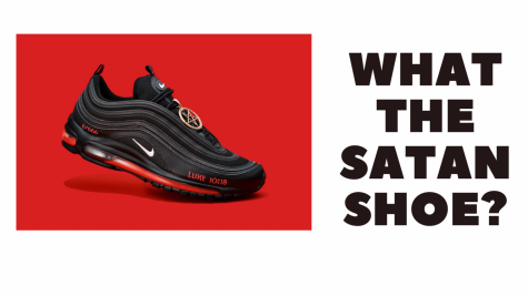 This is the Satan Shoe that was created by Lil Nas X with MSCHF. The image of the Satan Shoe itself is via https://www.theverge.com/2021/3/29/22357225/nike-sues-lil-nas-x-unauthorized-satan-shoes-mschf