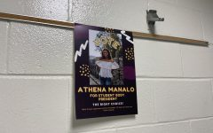 One of many campaign posters that candidate, Athena Manalo, has hung around campus in support of her campaign.