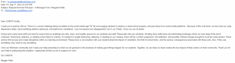Email from Ms. Walls to Parents and students