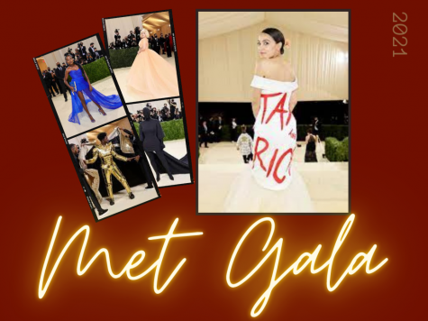 Graphic depicting 5 celebrities and their Met Gala looks from 2021, designed by Lulu Vitulo.