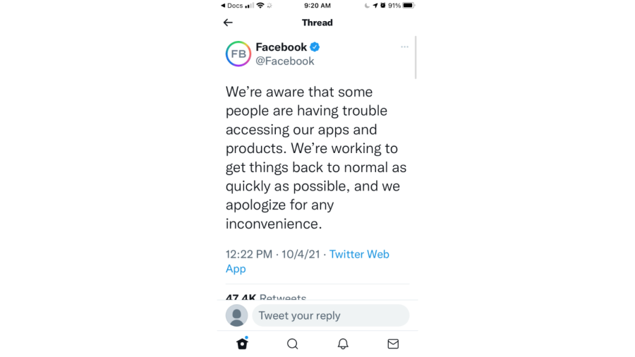 This is the tweet that Facebook posted on the day of the shutdown to acknowledge the concerns of people not able to use the app.